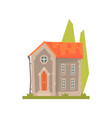 old stone house with red roof ancient vector image