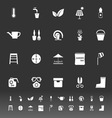 Home garden icons on gray background vector image