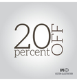 20 sale Price off icon with 20 percent discount vector image