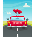 Just maarried car with balloons back view wedding vector image