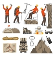 Climbing Hiking Mountaineering Icons vector image