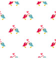 blue and pink birds with hearts pattern seamless vector image
