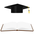 Book and graduation hat vector image