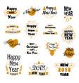 happy new year hand drawn emblems set vector image