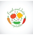 Juicy and Fresh vegetables symbol icon or stamp vector image