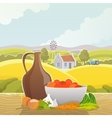 Rural landscape abstract poster vector image
