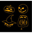 set of characters for halloween in cartoon style vector image