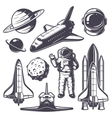 Set of vintage space elements vector image