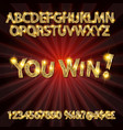 you win gold alphabets and numbers vector image