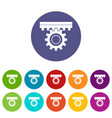 one gear icons set flat vector image