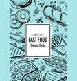 fast food menu cover in vintage style vector image