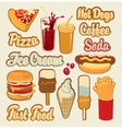 fast food ice cream and drinks vector image vector image