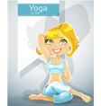 cute blond girl in a yoga pose gomukha asana vector image vector image