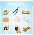 Bakery set - nine isolated sweet icons vector image