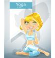 Cute blond girl in a yoga pose gomukha asana vector image
