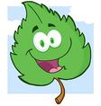 Green Leaf Cartoon Character vector image