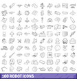 100 robot icons set outline style vector image
