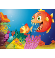 Colorful coral reefs with two fishes vector image vector image
