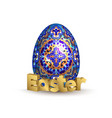 easter banner egg and 3d golden lettering easter vector image
