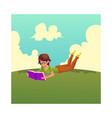 girl woman in glasses reading a book lying on vector image