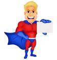 Superhero cartoon holding name card vector image vector image