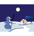 Winter landscape with snowman vector image