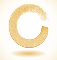 Gold paintbrush circle frame vector image