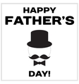 Happy Father Day text with mustache butterfly tie vector image