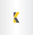 letter k yellow black logo logotype vector image
