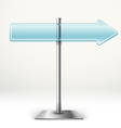Blank blue transparent arrow board Template for a vector image vector image