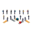 Employees Postal or Warehouse Company in Isometric vector image
