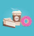 coffee cheesecake and donut vector image