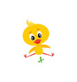 baby chicken character playing with butterfly vector image