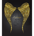 hand drawn ornate golden angel wings in zentangle vector image