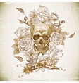Skull with Roses Day of The Dead vector image