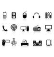 black electronic icons set vector image vector image