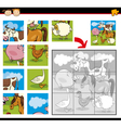 cartoon farm animals jigsaw puzzle vector image