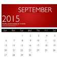 Simple 2015 calendar September vector image vector image