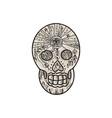 Sugar Skull Tattoo Etching vector image