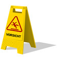 Vorsicht caution two panel yellow sign vector image