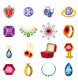 jewelry collection icons set cartoon style vector image