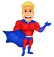 Superhero cartoon presenting vector image
