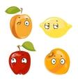 Peach lemon apple and orange faces vector image vector image