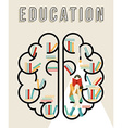 Modern education design of brain with books vector image