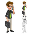 Businessman Geek with Glasses Holding Smart Phone vector image