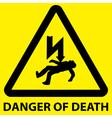 Danger of death sign vector image