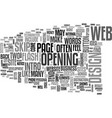 Web design skip intro text word cloud concept vector image
