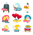 Wedding objects labels set collection of wedding vector image