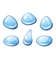 Blue water drops set vector image