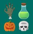 cartoon halloween set pumpkin hand skull flask vector image